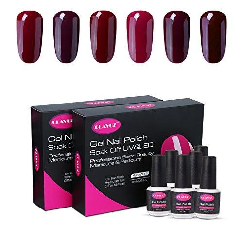 CLAVUZ Gel Nail Polish Set 6pcs Burgundy Nail Polish Soak Off Gel Lacquer Professional Salon Beauty Manicure New Starter Kit