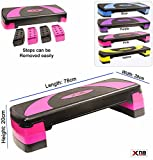 Xn8 Adjustable Stepper Step Block Cardiovascular Fitness Aerobic Exercise Gym Yoga (Pink)