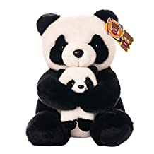BESTLEE Mommy and Baby Panda Plush Lifelike Stuffed Animal Toy 11 Inch