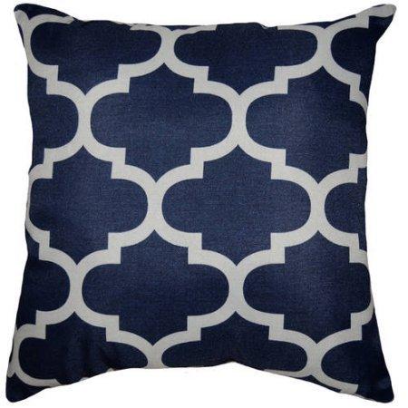 Amazon Mainstays Fretwork Decorative Pillow Indigo Home Classy Fretwork Decorative Pillow
