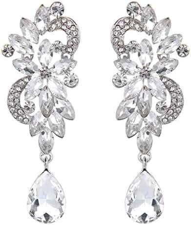BriLove Women's Bohemian Boho Crystal Flower Wedding Bridal Chandelier Teardrop Bling Dangle Earrings