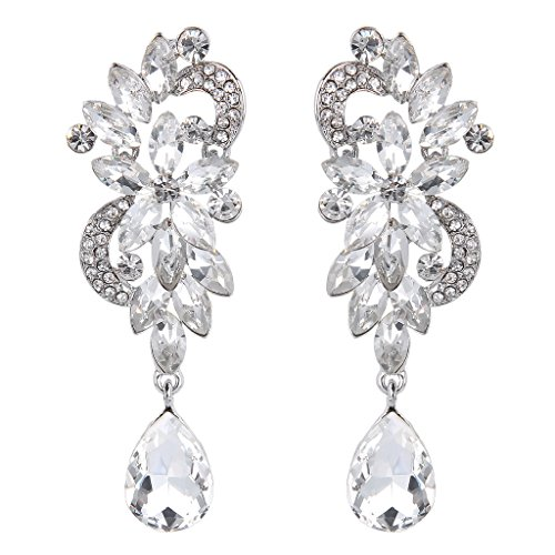 BriLove Women's Bohemian Boho Crystal Flower Wedding Bridal Chandelier Teardrop Bling Long Dangle Earrings Clear Silver-Tone (Dangling Chandelier Earrings)