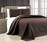 "3-Piece DARK BROWN Oversize ""Stella Grande"" Bedspread KING / CAL KING Embossed Coverlet set 118 by 106-Inch"