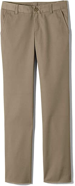Essentials Girls Flat Front Uniform Chino Pant