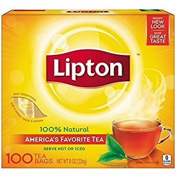 Lipton Black Tea Bags 100% Natural Tea 100 ct (Pack of 2)