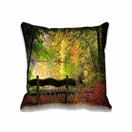 Custom Design Empty Bench In Fall Scene Pillow Cases Zippered , 16x16 Square Seasons Pillowcase - Autumn Cushion Covers Two Size (Angry Birds Season 3 Halloween 2-12)