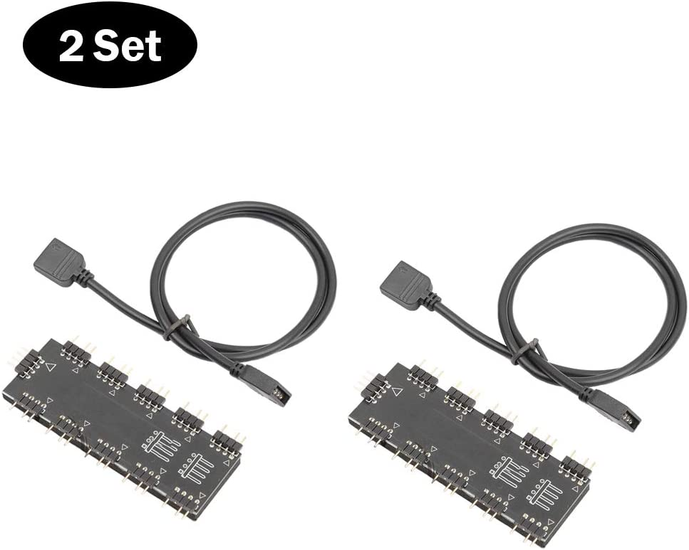 Eipek RGB Hub Controller 3 Pin 5 V Nterface 1-10 Controlador Ventilador Hub para Placa Base de computadora 2 Set