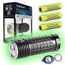 Olight SR Mini Intimidator 3 x CREE XM-L2 LED Flashlight - 2800 Lumen w/Free Keychain Light (SR Mini + 3x NL189 + Keychain Light)