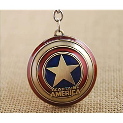 Tonith Captain America Shield Car Truck SUV Boat Home Office Metal Keychain Pendant Key Chains(Captain America Shield-Antique Copper Plated): Office Products