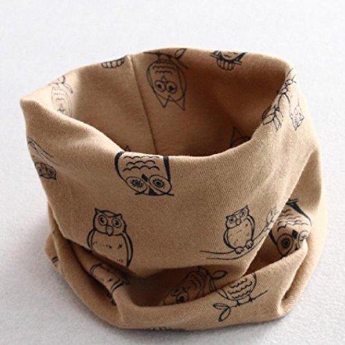 Auxma Invierno del bebé de la bufanda de cuello,Algodón Pañuelos Impresión de buho Caqui