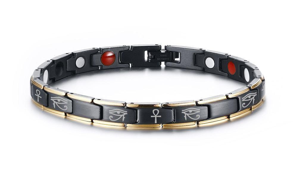 VNOX Womens Stainless Steel Egyptian Eye of Horus Eye of Ra Ankh Cross Magnetic Therapy Adjustable Bracelet