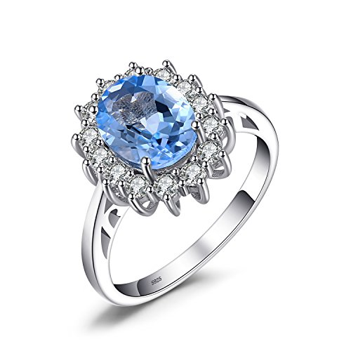 ss Diana William Kate 2.3ct Natural Blue Topaz Engagement Halo Ring 925 Sterling Silver Size 9 ()