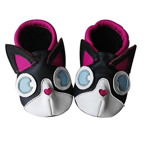 Jinwood designed by amsomo verschiedene Modelle - 3 D Hausschuhe - ECHT LEDER - Lederpuschen - Krabbelschuhe - Mädchen - Jungen - soft sole/mini shoes div. Groeßen 17/19-31/32 kitty pink soft sole