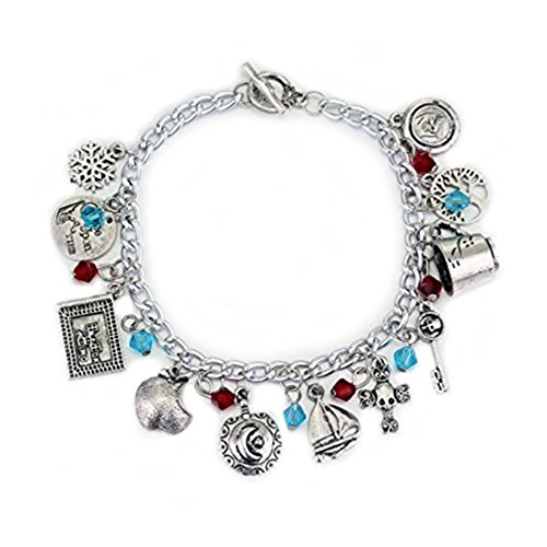 ONCE UPON A TIME Themed Silvertone Assorted Metal Charm BRACELET ()