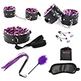 MUQU 7pcs Leopard Purple Unisex luminous clips hands and feet attached Bed toys Set Restraints Lockable