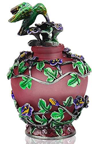 YUFENG Retro Empty Refillable Glass Perfume Bottle w/Fancy Flower Decor - Decorative Vintage Frosted Glass Perfume Bottle w/Pretty Lid w/Hummingbird Figurine