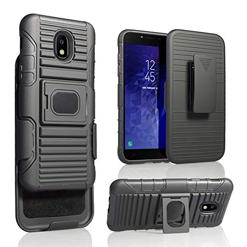 Samsung Galaxy J3 Star 2018, Orbit, Achieve, J3V 3rd Gen, Express Prime 3, Amp Prime 3 J337 [MAGNET MOUNT READY] Ring Armor Holster 5 in 1 Rugged Case With Ring (Optional Belt Clip Snap)