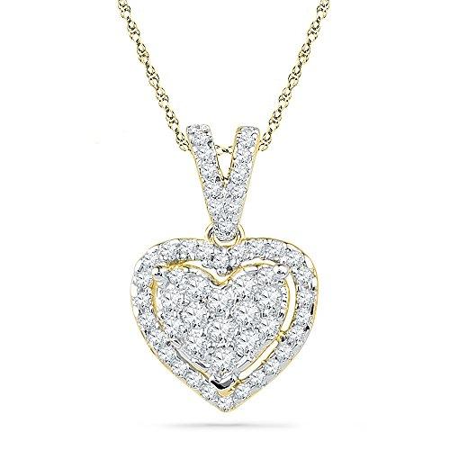 10kt Yellow Gold Womens Round Diamond Heart Love Pendant 1/5 Cttw