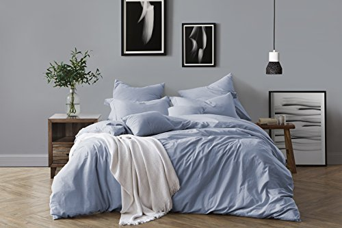 Swift Home 100% Cotton Washed Yarn Dyed Chambray Duvet Cover & Sham Bedding Set, Ultra-Soft Luxury & Natural Wrinkled Look - Full/Queen, Chambray Blue