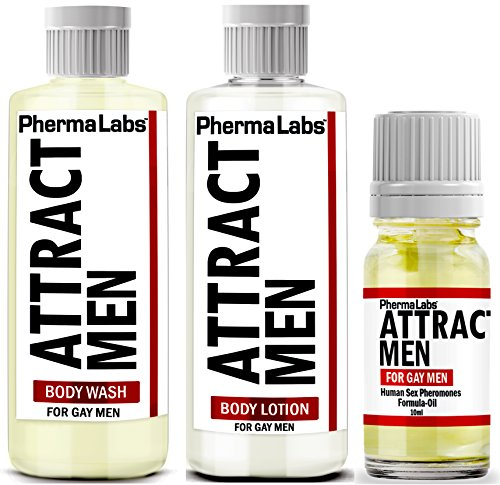 PhermaLabs Pheromones Mini Travel Kit For Gay Men to Attract Men includes: Body Lotion, Body Wash and Body Oil