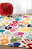 Contemporary Abstract Handprint Collage Multi Area Rugs, 5 Feet by 8 Feet (5′ x 8′) For Sale
