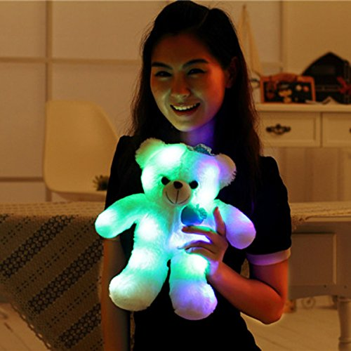 Wewill Adorable LED Light up Glow Teddy Bear, Teddy Bear Little Stuffed Toys, Stuffed Plush Toy with Colorful Flash LED Light , Stuffed Animal Gifts for Children's Day 15-Inch (Blue)