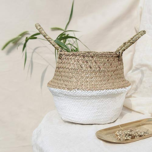 - Hot Sale!DEESEE(TM)Seagrass Wicker Basket Wicker Basket Flower Pot Folding Basket Dirty Basket Storage Home Decoration 3632cm (White)