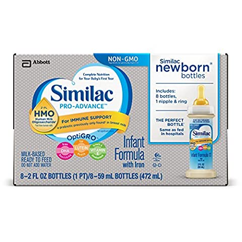 Similac Pro-Advance Infant Formula with 2'-FL HMO for Immune Support, Ready to Feed Newborn Bottles, 2 fl oz, 8 bottles (Pack of (Pro Stages)