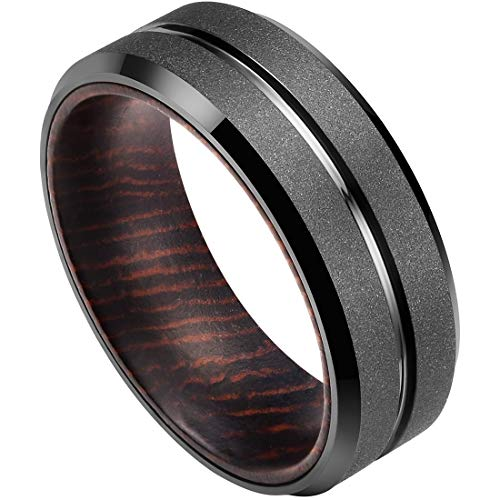 DOUX Black Tungsten Carbide Wedding Ring Wood Inlay Grooved Center Matte Finished 10.5