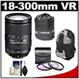 Nikon 18-300mm f/3.5-5.6G VR DX ED AF-S Nikkor-Zoom Lens with 3 (UV/FLD/CPL) Filters + Backpack Case + Accessory Kit for D3100, D3200, D5100, D7000 and D7100 Digital SLR Cameras, Best Gadgets