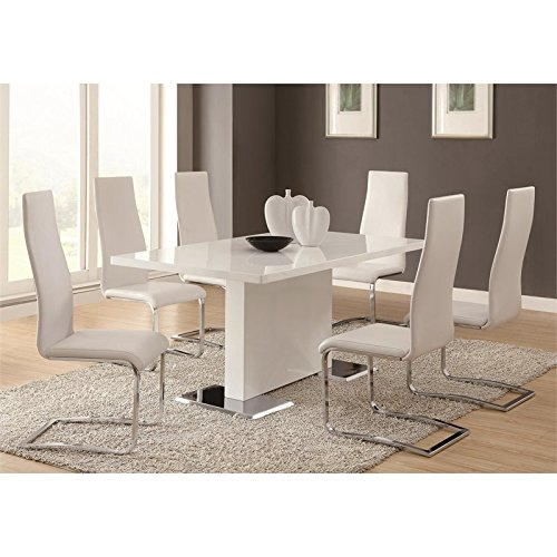 Glossy White Contemporary Dining Table by Coaster Home Furnishings (Image #1)