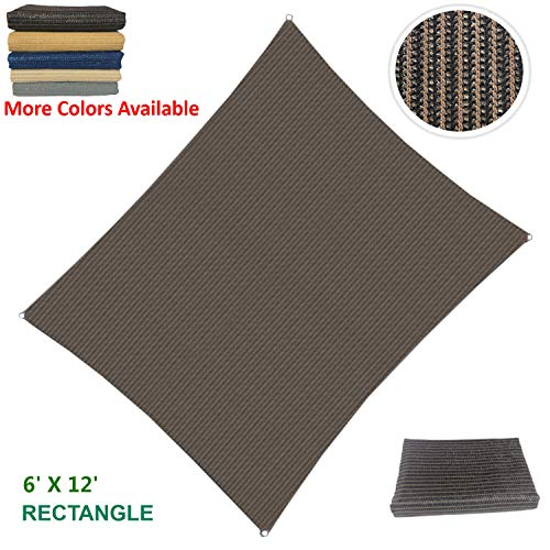 - Eden's Decor Curved Rectangle 6' X 12' Brown UV-Blocking Sun Shade Sail Fabric for Patio Outdoor and Swimming Pool