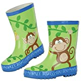 Stephen Joseph Boys 2-7 Monkey Rain Boots, Jungle Green, 12