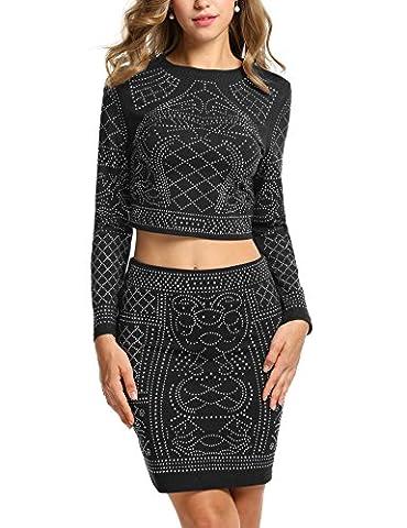 Zeagoo Women Plus Size Crew Neck Crop Top Midi Skirt Bandage Bodycon (Black XXL) (Black Midi Set)