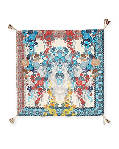 Johnny Was Women's Patterned Silk Square Scarf with Tassels, Re-Augustina Multi, O/S