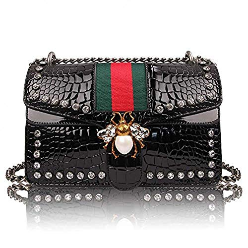 Womens Stylish Crossbody Bag Unique Bee Design Shoulder Bag Handbags Studded Rhinestone Quilted Genuine Leather with Chain Strap (Black)
