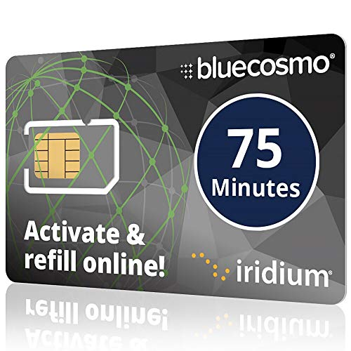 BlueCosmo Iridium 75 Min Prepaid Global SIM Card - Satellite Phone Airtime - 30 Day Expiry - No Activation Fee - No Monthly Fee - Refillable - Rollover - Easy 24/7 Online Activation and Refills