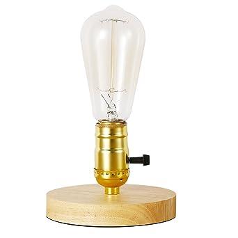 INJUICY Vendimia E27 Edison Madera Lámpara de Escritorio Antiguo ...