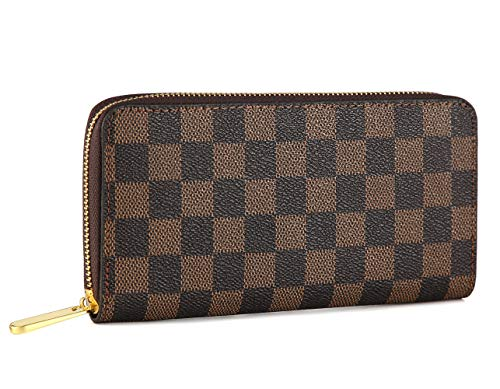 Louis Vuitton Zippy Organizer - Miracle Checkered Zipper Around Wallet   Blended Cowhide Leather   with Phone Clutch/Card Holder/Bill Organizer for Men and Women (Brown)