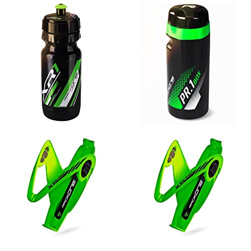 Raceone.it - KIT Fluo Race - 4 PCS - Bike Water Bottle XR1 + 2 Bottle Cage X5 Gel + ToolBox PR1 Tools Holder. Race/ MTB / Gravel / Trekking. 600 CC Cad. Color: Green Fluo 100% MADE IN ITALY by Raceone.it