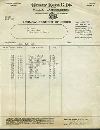 A Mecky Company Philadelphia invoice 1930 Velo-King Velocipedes scooter