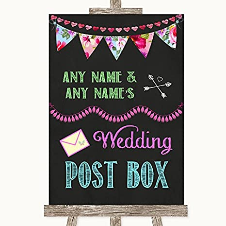 Bright Bunting Chalk Card Post Box Personalised Wedding Sign