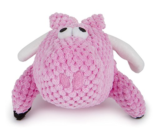 goDog Checkers Flying Pig with Chew Guard Technology Tough Plush Dog Toy, Pink, Small (Multipet Latex Polka Dot Globlet Pig Dog Toy)