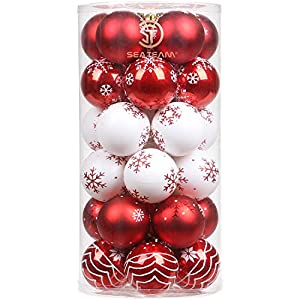 Sea Team 60mm/2.36″ Delicate Contrast Color Theme Painting & Glittering Christmas Tree Pendants Decorative Hanging Christmas Baubles Balls Ornaments Set – 30 Pieces (Red & White)
