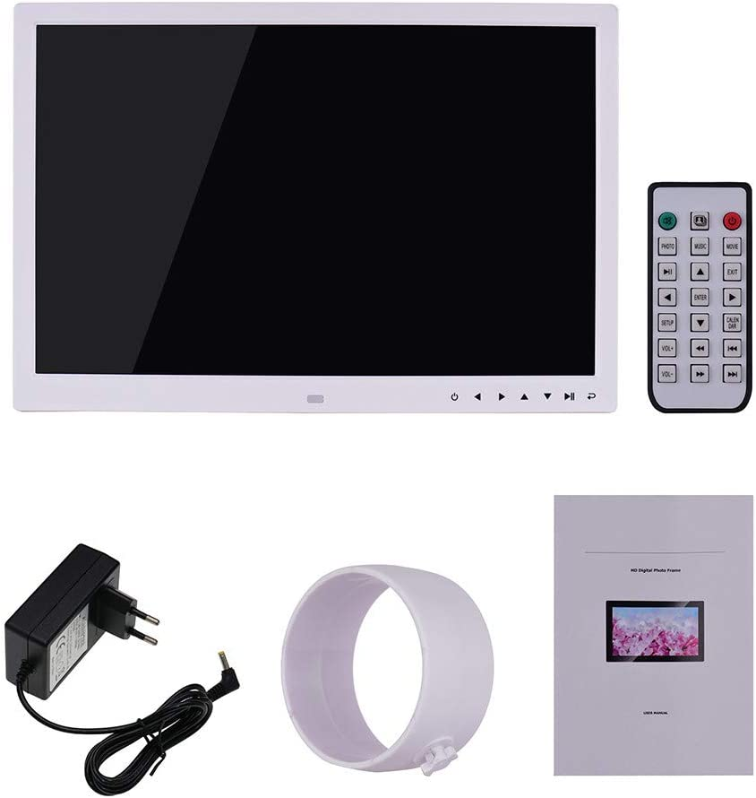 Video Player,MP3,Calendar,Zoom in and Rotate Pictures,Remote Control Digital Photo Frame 17 inch Electronic Picture Frame High Resolution 1440900 with 1080P HD LCD Display