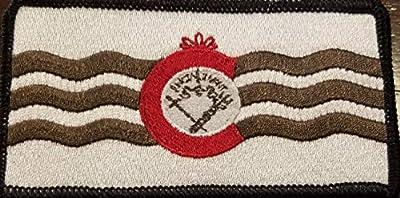 Cincinnati Flag Embroidered Patch with Velcro (R) Brand Fastener MC Biker Tactical Morale Shoulder Travel Emblem Brown, Red & White Version Black Border