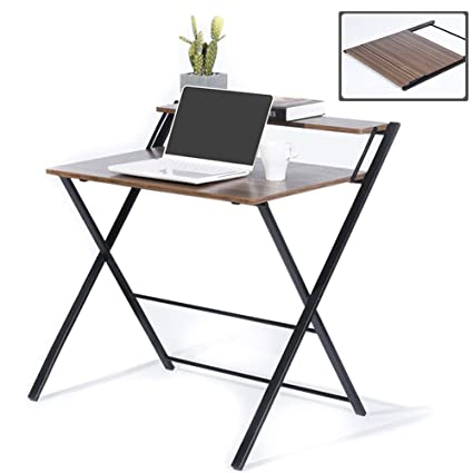 watch d16ee e4cec GreenForest Folding Desk for Small Space, 2 Tiers Computer Desk with Shelf  Home Office Small Desk with Metal Legs, No Assembly Required, Espresso