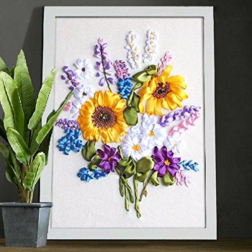 Ribbon Embroidery Kit For Beginner Flower Design DIY Home Wall Decor - Transfer Silk Ribbon