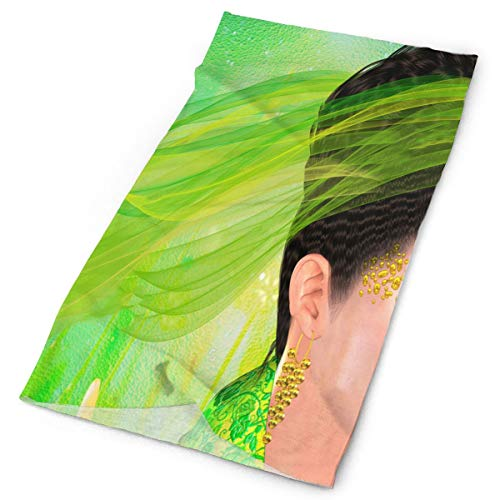 (Headband Beautiful Woman With Green Lace Ribbon Outdoor Scarf Mask Neck Gaiter Head Wrap Sweatband Sports Headwear)