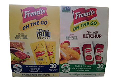 30 Single Serve Packets - Frenchs On The Go Condiment Packets - Bundle contains (1) box of 30 Single Serve Tomato Ketchup Packets and (1) Box of 30 Single Serve Classic Yellow Mustard Packets